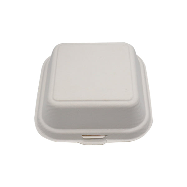 100% Biodegradable Sugarcane Bagasse 6x6inch Clamshell B