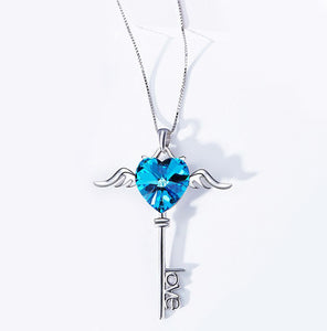 Swarovski Crystals Bermuda Blue Flying is the Key to Love  Necklace - Clayton White