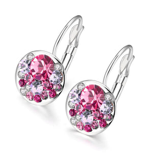 Pink Periwrinkle Swarovski Leverback Earrings in 18K White Gold - Clayton White