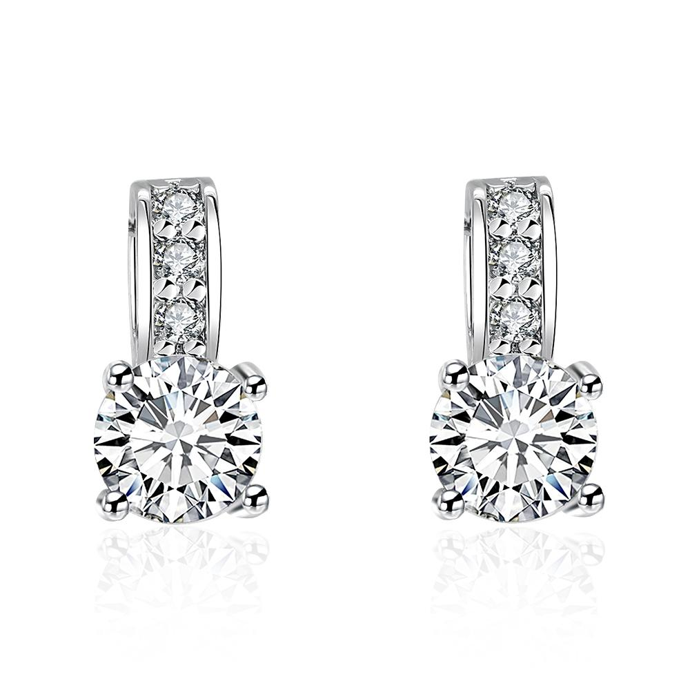 Princess Inspired Pav'e Swarovski Elements Earrings in 18K White Gold - Clayton White