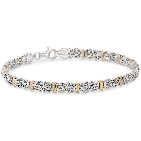 Two Toned 5th Avenue Modern Byzantine Bracelet in 14K Gold - Clayton White