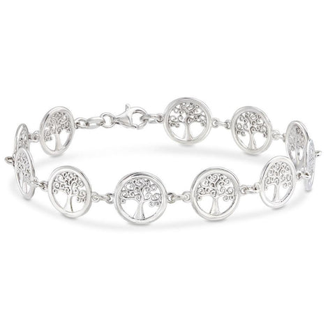 18K White Gold Plated Tree of Life Circular Design Classic Bracelet - Clayton White