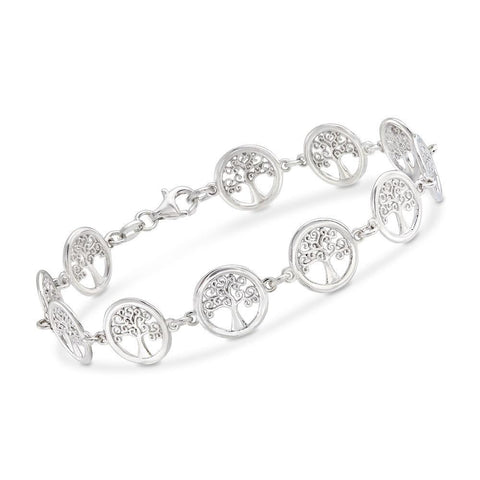 Tree of Life Disc Bracelet in 18K White Gold Plated - Clayton White