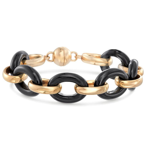 Large Link Onyx Ceramic Bracelet in 18K Gold Plated - Clayton White