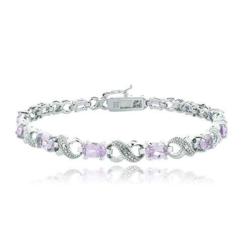 Oval Cut 6.00 CTTW Gemstone Infinity Shaped Bracelet in 18K White Gold Plating - 5 Options - Clayton White