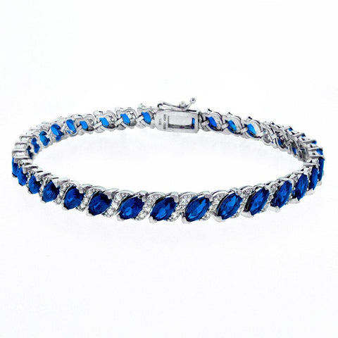 20.00 CT Genuine Sapphire Vine Bracelet Embellished with Swarovski Crystals in 18K White Gold Plated - Clayton White