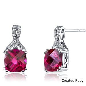 2.00 CT Pink Topaz Cushion Round Stud Earringin 18K White Gold Plated - Clayton White