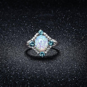 Aquamarine Opal Ring Set in 18K White Gold - Clayton White