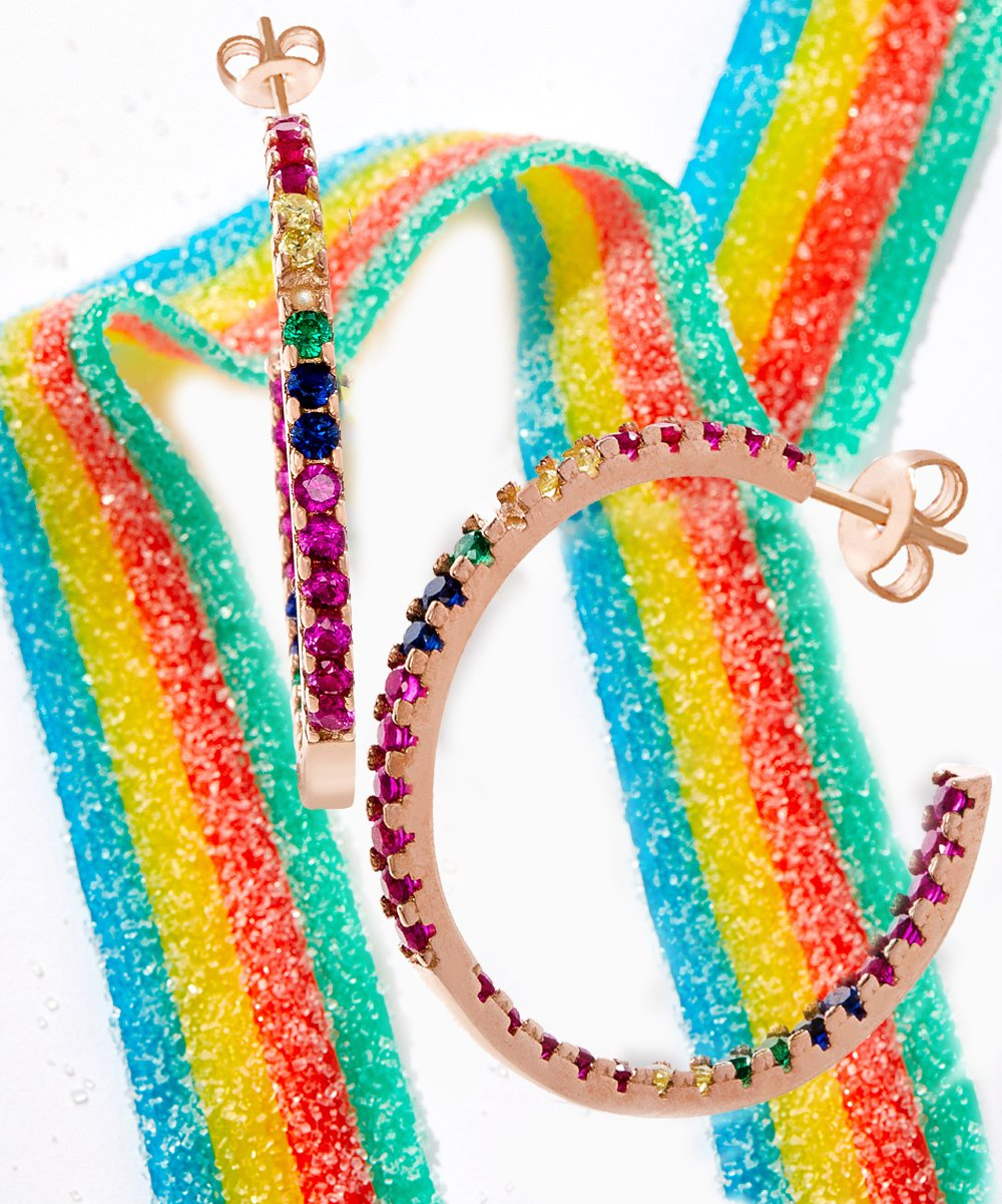Candy Lover Rainbow Pave Swarovski Hoop Earring (3 Colors available) - Clayton White