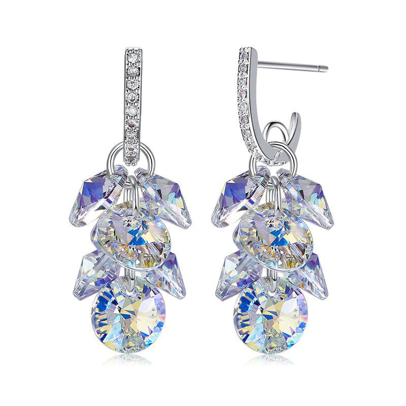 Swarovski Crystals Aurora Borealis Grape Bunch Drop Earring - Clayton White