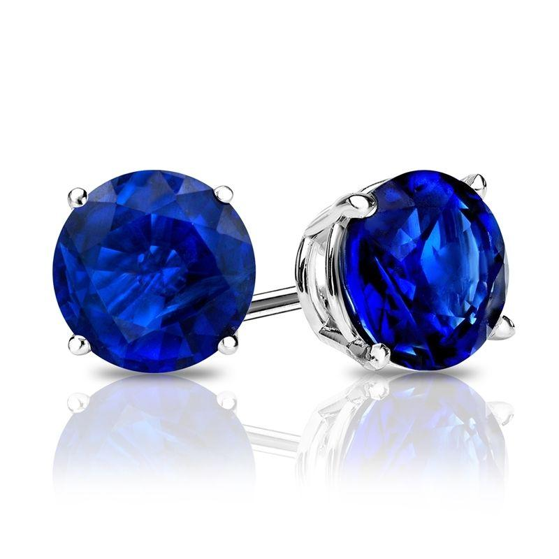 Sapphire Created Swarovski Crystal 6mm Stud Earring 14K White Gold Plated - 1.00 CT - Clayton White