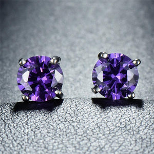 Amethyst Created Swarovski Crystal 6mm Stud Earring 14K White Gold Plated - 1.00 CT - Clayton White