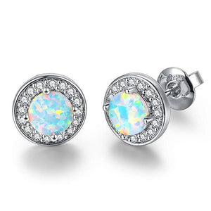 2.00 Ct Opal Created Round Halo Stud Earringin 18K White Gold Plated - Clayton White
