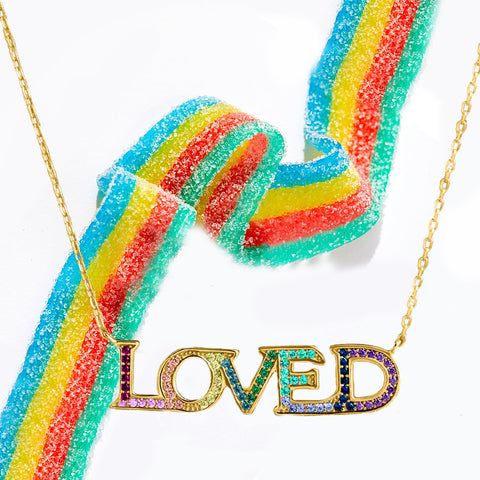"LOVED Necklace with Rainbow Swarovski Crystals 18"" - Clayton White"