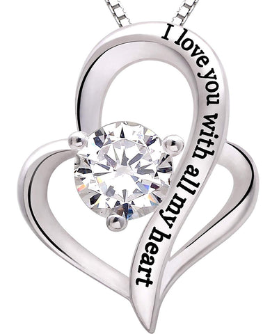 I Love you with all my heart Heart Necklace in 18K White Gold Plated - Clayton White