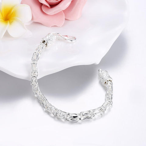 "Byzantine Bracelet in 18K White Gold Plated 7.5"" - Clayton White"