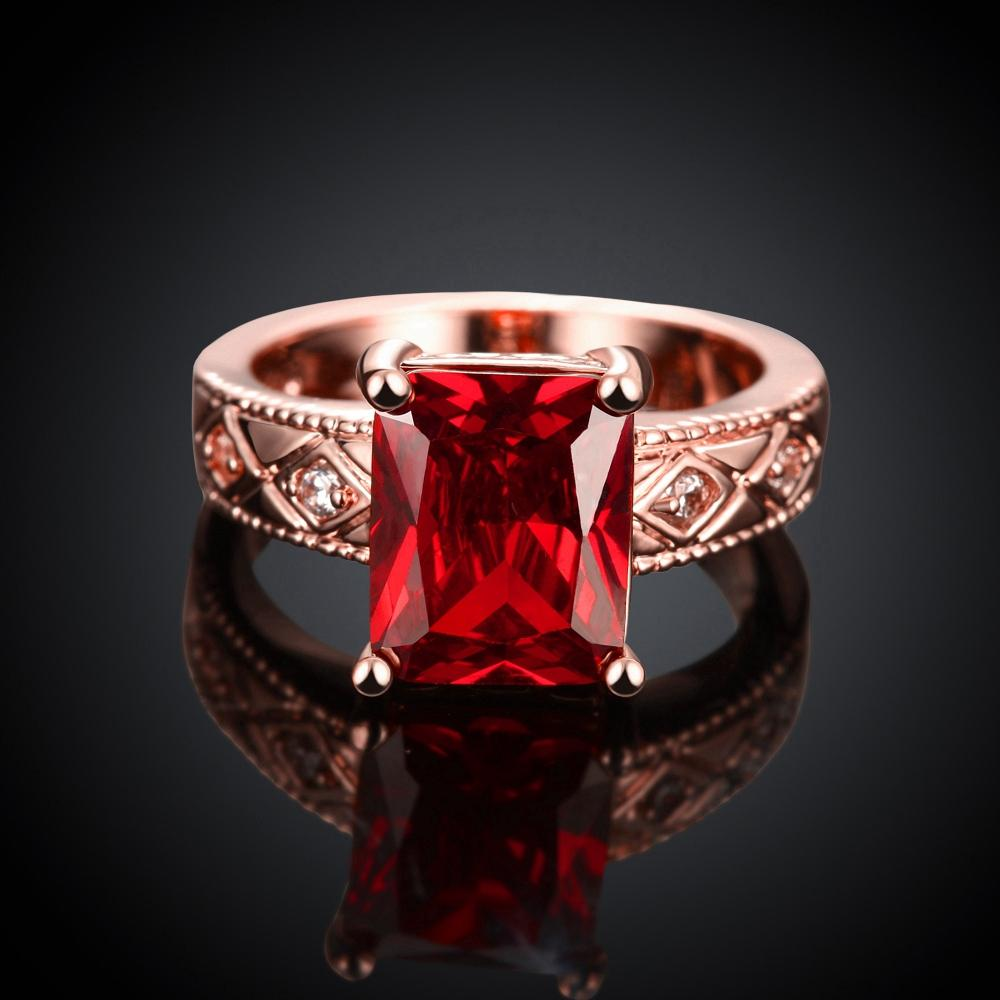 Ruby Emerald Cut Center Halo Ring in 18K Rose Gold - Clayton White