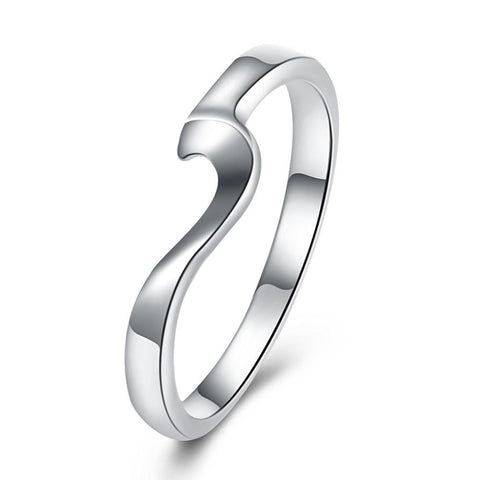 18K White Gold Plated  Curved Abstract Ring - Clayton White