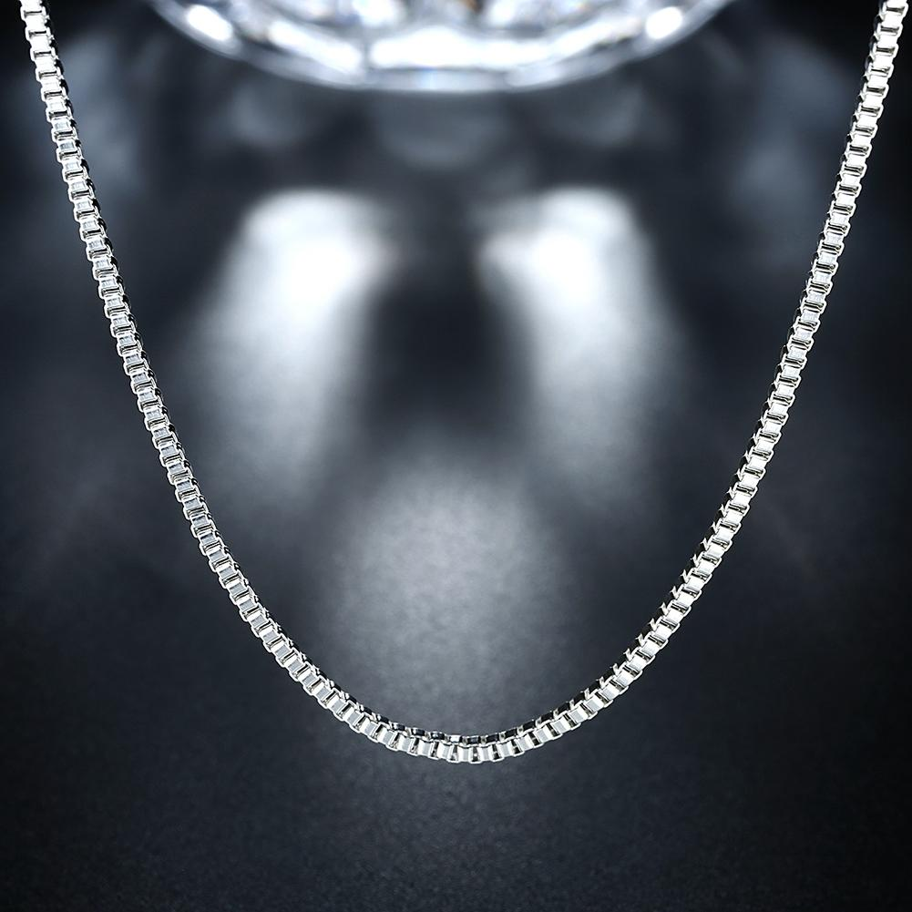 18K White Gold Plated  Italian Figaro Chain Necklace - Clayton White