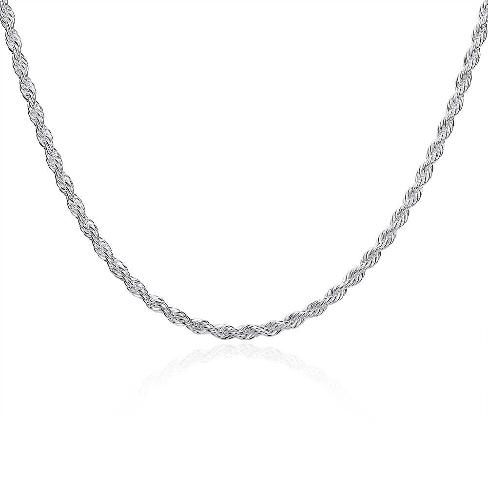 18K White Gold Plated  Twisted Rope Chain Necklace - Clayton White