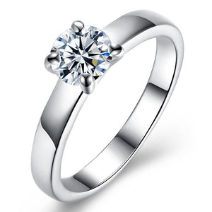 18K White Gold Plated  Single Swarovski Solitaire Ring - Clayton White
