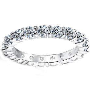 Muli Swarovski Sleek Mini Stone Band Ring - Clayton White