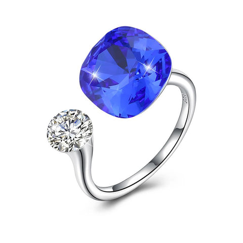 Blue Sapphire Halo Cut Adjustble White Gold Ring - Clayton White