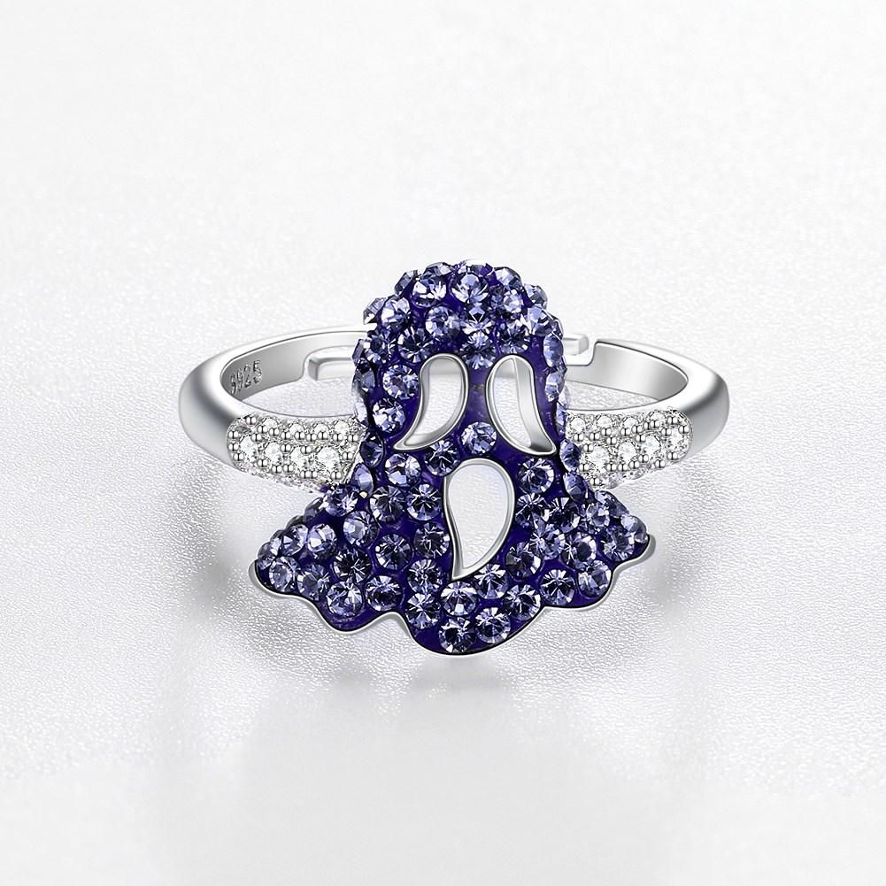 Sterling Silver Purple Swarovski Mushroom Ring - Clayton White