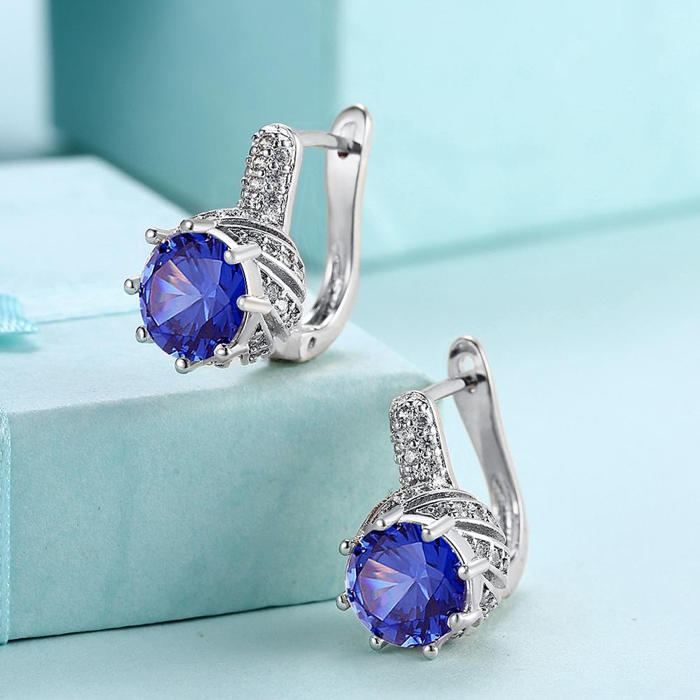 18K White Gold Plated Pav'e Curved Simulated Sapphire Lever-back Earrings - Clayton White