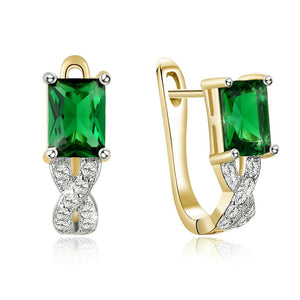 Green Emerald Cut Swarovski Twisted Earrings - Clayton White