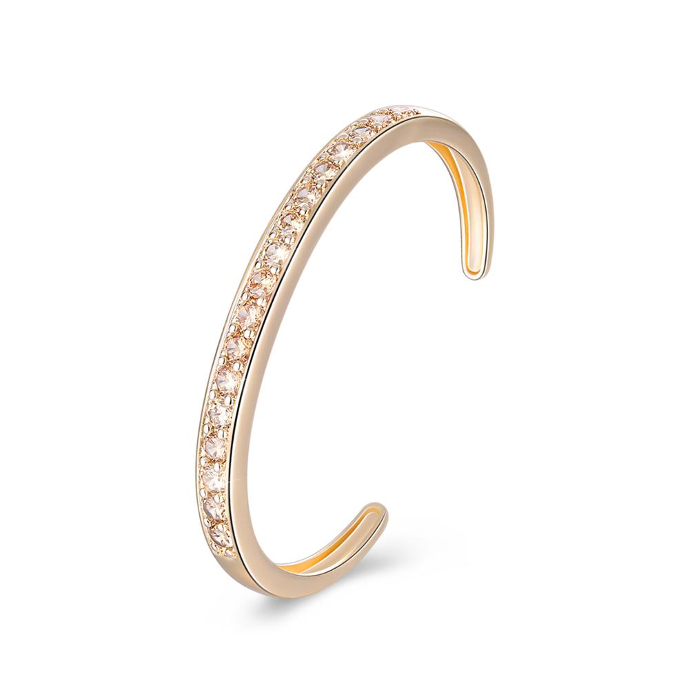 Pav'ed Iced Out Open Bangle in 14K Gold - Gold - Clayton White