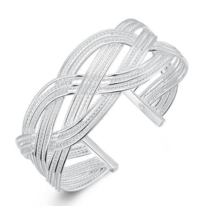 Silver Intertwined Mesh Bangle - Clayton White