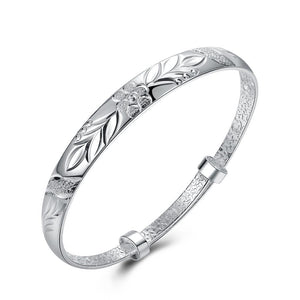 Silver Plated Adjustable Botanical Gardens Women's Bangle - Clayton White