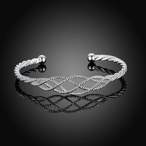 Silver Plated Intertwined Honeycomb Matrix Women's Bangle - Clayton White