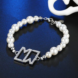 18.00 CT Fresh Water Pearls Sterling Silver Bracelet - Clayton White