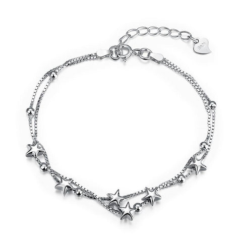 Shooting Stars Strands Sterling Silver Bracelet - Clayton White