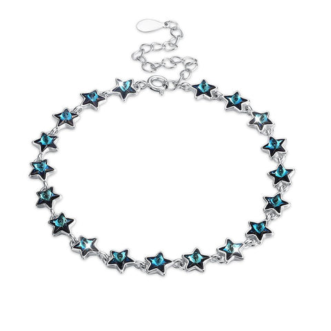 A SKY FULL OF STARS - 5.00 CT Bermuda Blue Swarovski Crystals Sterling Silver Bracelet - Clayton White
