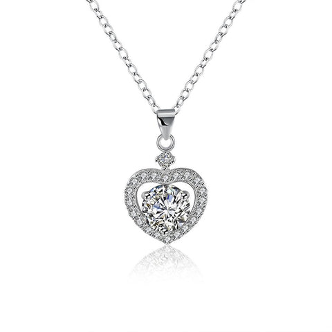 Sterling Silver Swarovski Elements Heart Shaped Necklace - Clayton White