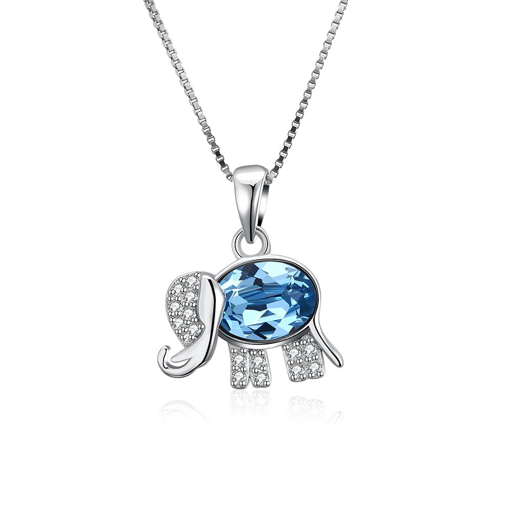 Sterling Silver Blue Swarovski Thai Elephant Necklace - Clayton White