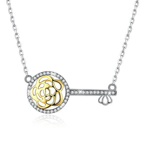 Key to my Heart Laser Cut Flower Sterling Silver Pave Swarovski Crystal Necklace - Clayton White