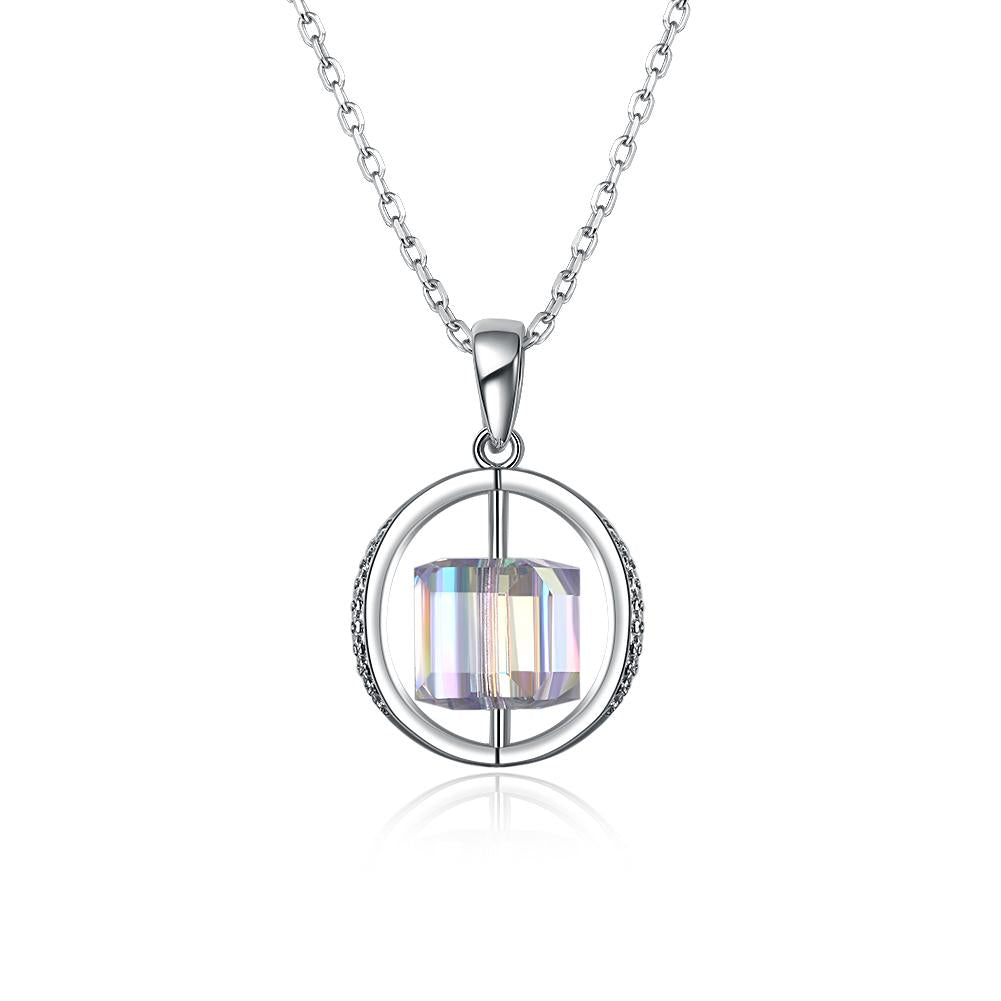 2.00 CT Aurora Borealis Swarovski Crystals Sterling Silver Flying Spinning Cube Necklace - Clayton White