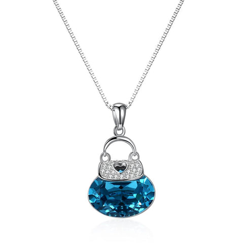 Blue Drop Necklace in Sterling Silver with Swarovski Crystals - Clayton White