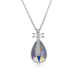 5.00 CT Aurora Borealis Stone Sterling Silver Swarovski Crystal Teardrop Necklace - Clayton White
