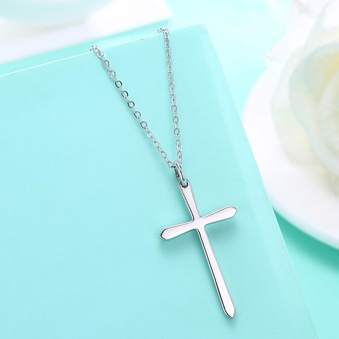 Sterling Silver Classic Unisex Cross Necklace - Clayton White