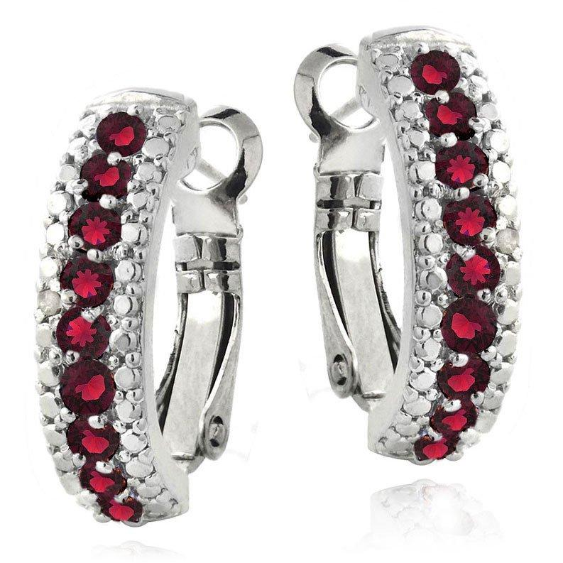 3.00 Ct Genuine Ruby Leverback Earring Embellished with Swarovski Crystals in 18K White Gold Plated - Clayton White