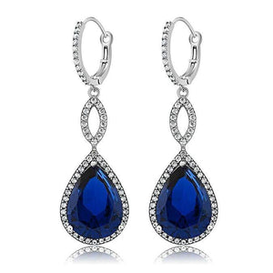 Sapphire Pave Teardrop Infinity Drop Embellished with Swarovski Crystals in 18K White Gold Plated - Clayton White