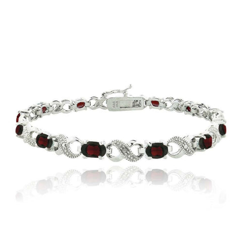 10.00 CT Genuine Ruby Infinity Bracelet Embellished with Swarovski Crystals in 18K White Gold Plated - Clayton White