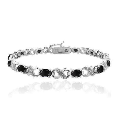 10.00 CT Genuine Black Onyx Infinity Bracelet Embellished with Swarovski Crystals in 18K White Gold Plated - Clayton White