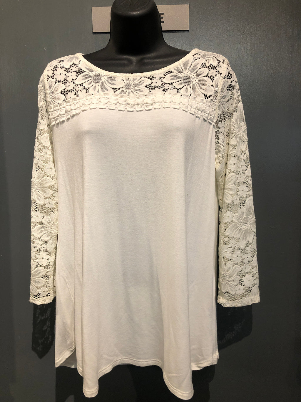 White long sleeve lace neck/sleeve top size medium