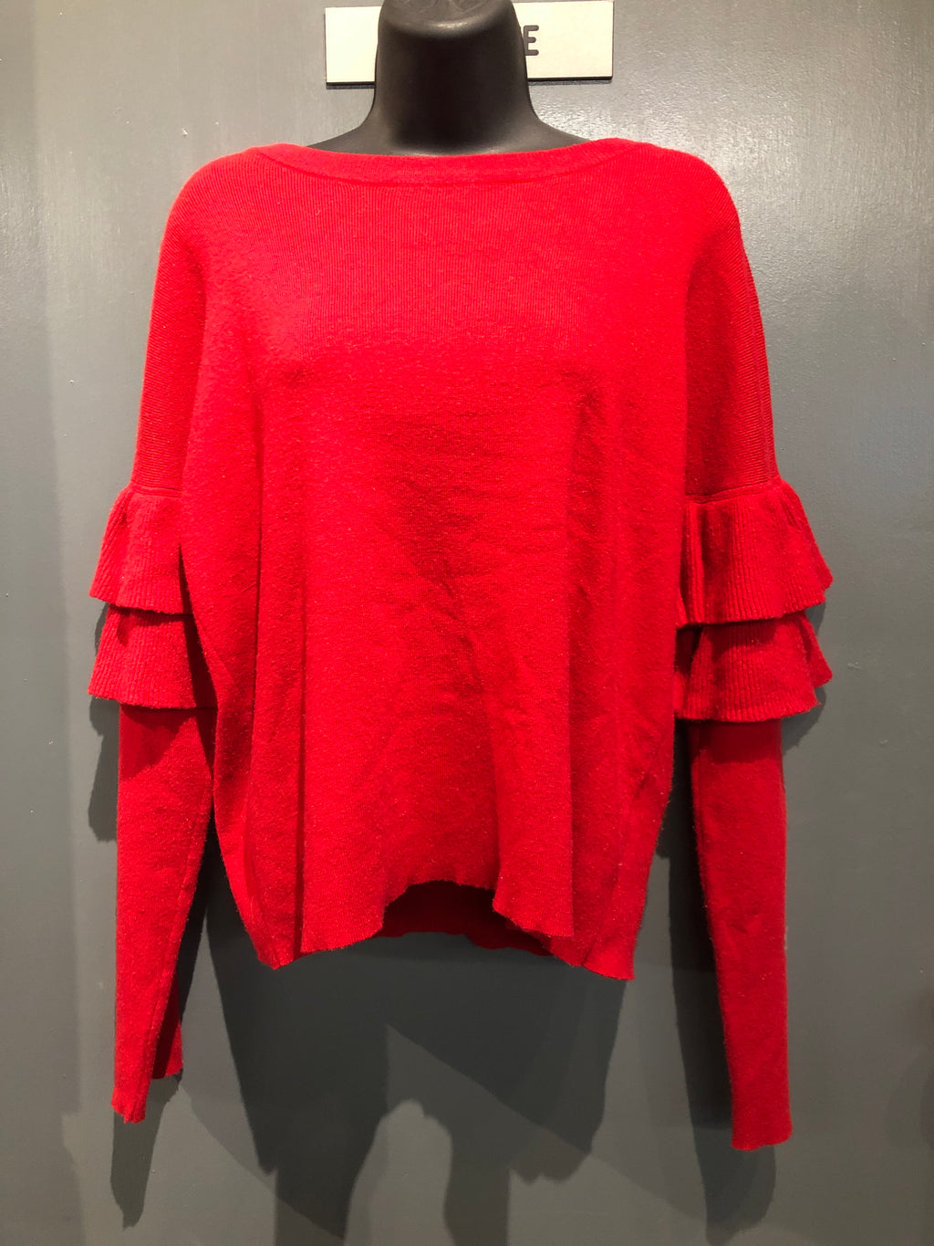 Red ruffle sleeve sweater size small